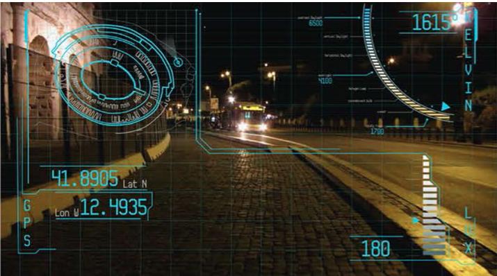 Fig.3 Filmato di realtà aumentata con dati sulla quantità e qualità della luce percepita lungo un percorso